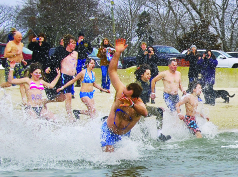 Saturday's weather conditions didn't provide much warmth for those brave souls who jumped into the bay for the Peconic Plunge to benefit Maureen's Haven homeless outreach program. The fourth annual fundraiser took place at Veterans Memorial Park in Mattituck.