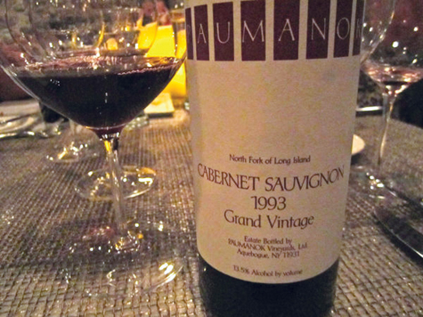 Paumanok Vineyards 1993 Grand Vintage Cabernet Sauvignon, one of the wines featured at a recent tasting at Luce Hawkins restaurant in Jamesport.
