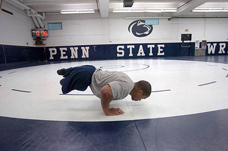 ROHAN MURPHY COURTESY PHOTO | Rohan Murphy does pushups in the weight room at Penn State, where he wrestled from 2004 to 2006.