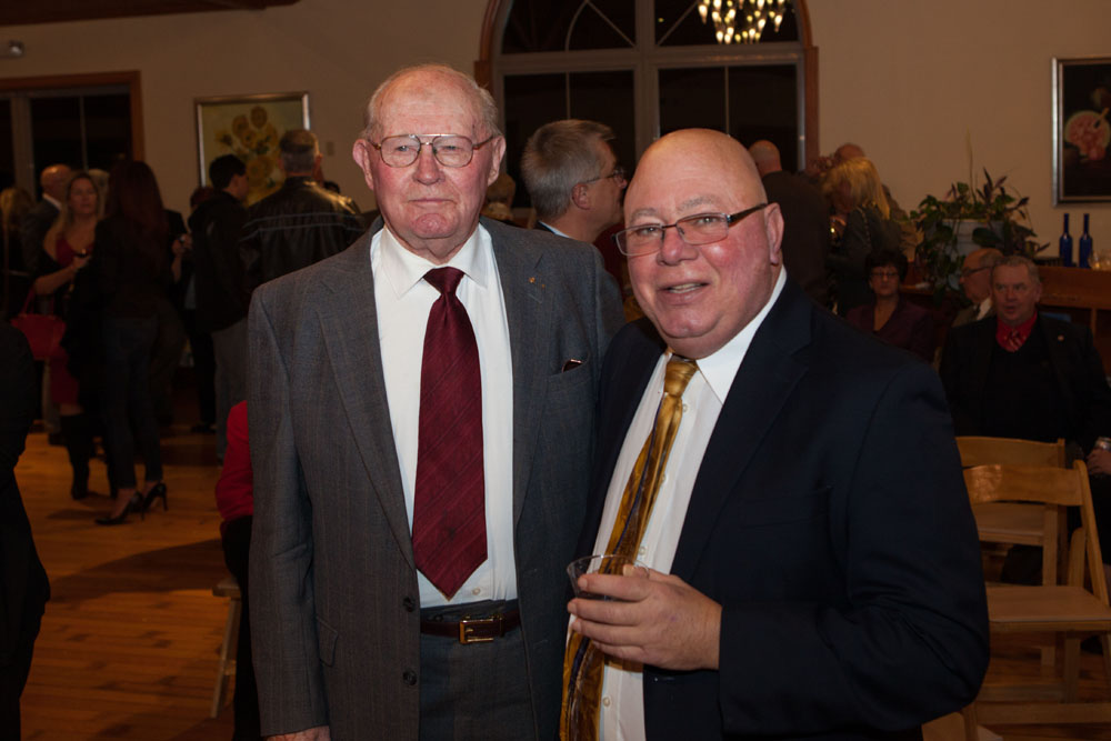 Joe Gergela, right, with his mentor former Farm Bureau president Dick McGuire. (Credit: Katharine Schroeder)