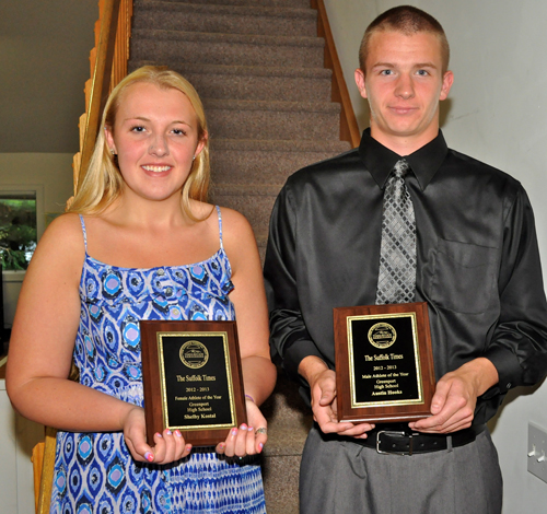 TIM KELLY PHOTO | Shelby Kostal and Austin Hooks were named Greenport's athletes of the year.