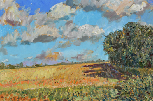 """Kosher Wheat Field"" by Max Moran, whose paintings are on view at Jedediah Hawkins Inn in Jamesport."