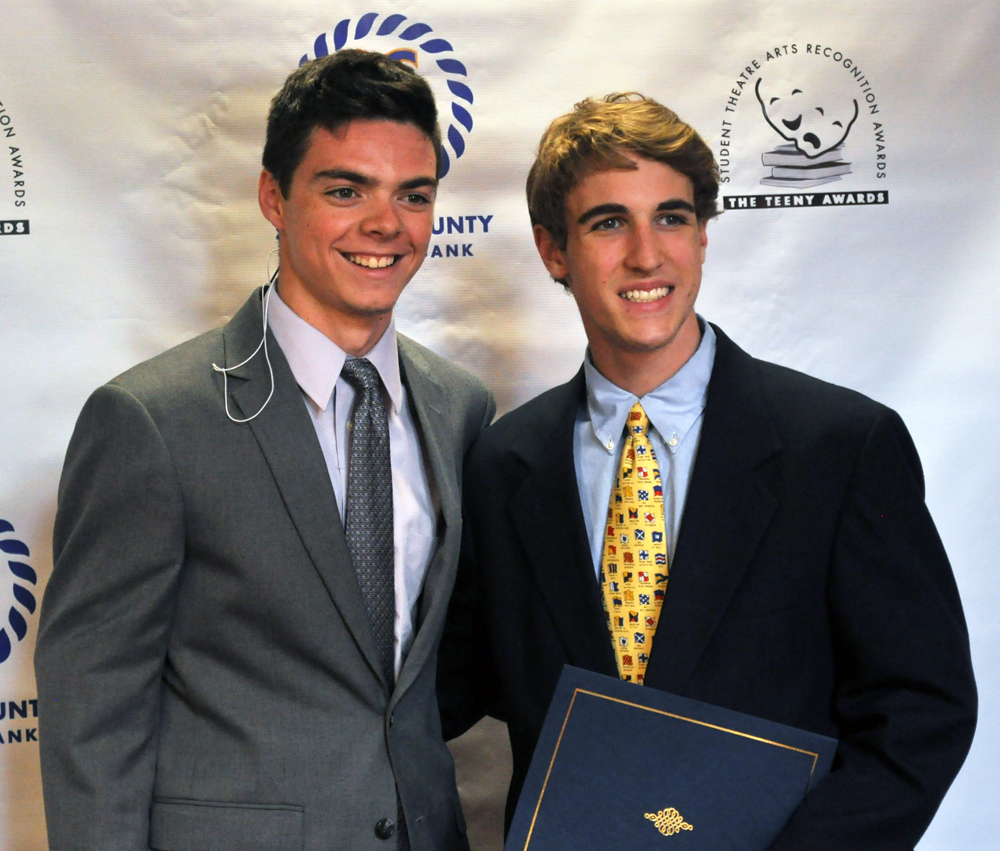 Nominee Matt Dunning, left, and winner Drew Garrison of Shelter Island High School. They co-starred in 'Young Frankenstein.' (Credit: Grant Parpan)