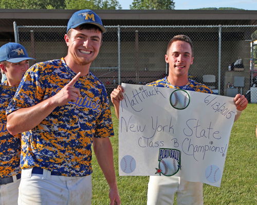 The Celebration begins! Mattituck Captured its first State Championship by defeating Livonia 4-1 in the NY State Class B Baseball Championship game at SUNY Broome on 6-13-15. Daniel De Mato