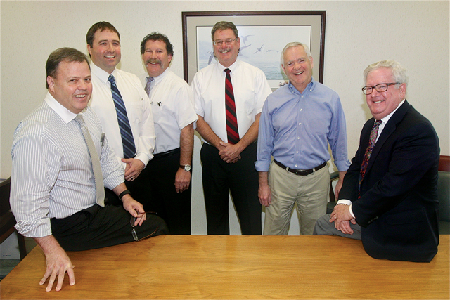 The Roy H. Reeve Agency  team (from left): Tom Dickerson, Tom Gatz, Jim Murphy, Jon Shearin, John Brisotti and Peter Swahn. (Credit: Barbaraellen Koch)