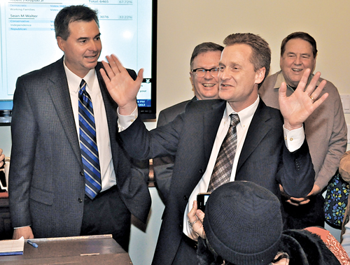 TIM KELLY FILE PHOTO | Sean Walter 'surrenders' to Al Krupski at the Dark Horse on election night Tuesday.