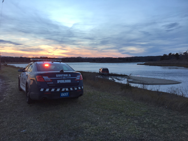 Southold police at East Marion causeway crash