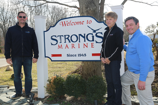 From left: Ryan, Re and Jeff Strong at their marina and showcase room in Mattituck. (Credit: Kelly Zegers)