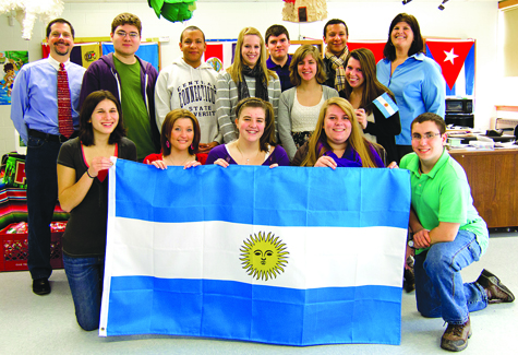 KATHARINE SCHROEDER PHOTO | Foreign languages teacher Kathleen Galvin, right, with some of the students from the 'Explorica' group who will be traveling to Argentina this month.
