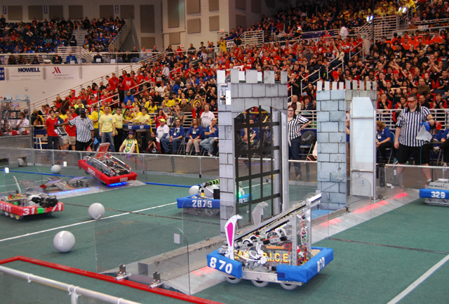 Team R.I.C.E. 870's robot in action at a packed Hofstra University arena Saturday. (Credit: PRMG New York)