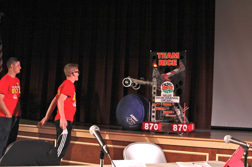 Southold High School students demonstrating their robotics club's project, Team RICE 870. (Credit: Jennifer Gustavson)