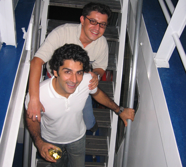 Zubair Khan in 2006 with his brother-in-law Umar Niazi. Mr. Khan was killed Monday when his experimental plane crashed into the Long Island Sound near Mattituck. (Credit: Courtesy of Umar Niazi)