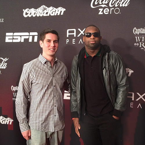 Local sports agent Brian McLaughlin, left, at the ESPN Super Bowl Party this February with client Steve Beauharnais, a linebacker for the New England Patriots. (Credit: Courtesy photo)