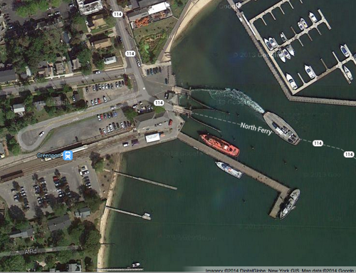 Greenport's railroad dock (center) as seen with a Google map. (Credit: Google maps)