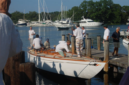 The Invader on its christening ride in Greenport on Friday. (Credit: Nicole Smith)
